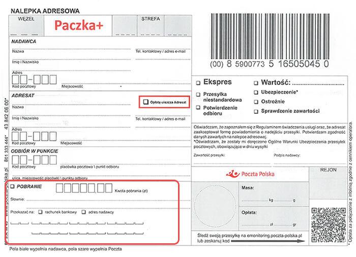 Płatność za pobraniem - wzór druku