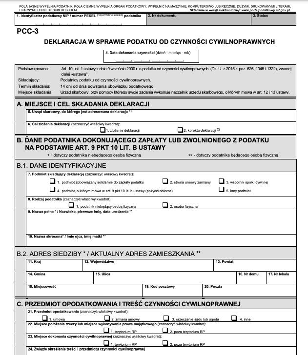 Formularz PCC-3 do rozliczenia pożyczki prywatnej