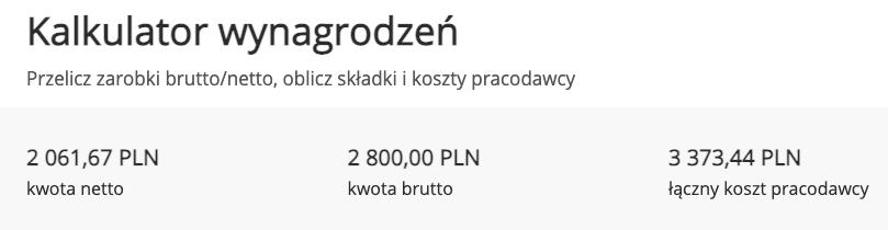 kalkulator płacy minimalnej 2800 brutto na netto
