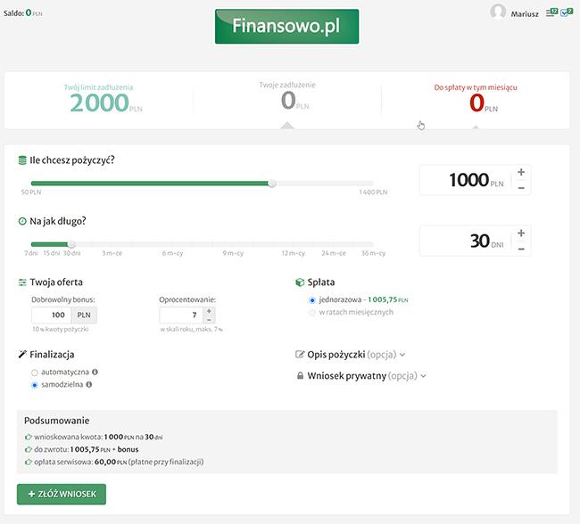 finanowo.pl - panel pożyczkobiorcy