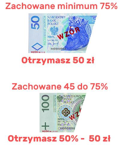 podarte banknoty - ile zwrotu